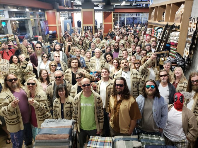 Inside the Pendleton store in downtown Portland, Oregon, a crowd gathers to show off their Westerley cardigans at a #dudecon party.