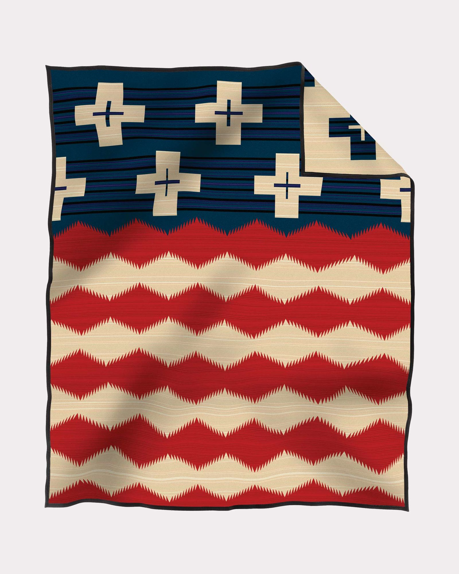 Pendleton Brave Star wool blanket in red white and blue