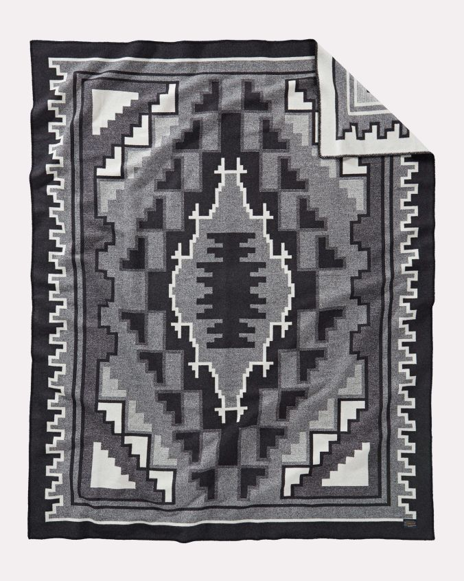 Pendleton Weavers Series #2, by mary Henderson, a black and white blanket.