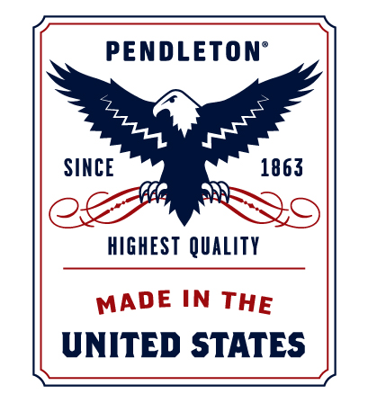 "Pendleton logo label that shows a drawing of a bald eagle, and the words: ""Pendleton since 1863 Highest Quality Made in the USA."" This blanket is sewn onto all Pendleton's traditional wool blankets, which are still 00% made in the USA."