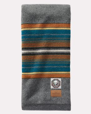 The Pendleton Olympic National Park Blanket, folded so that the blanket label shows.