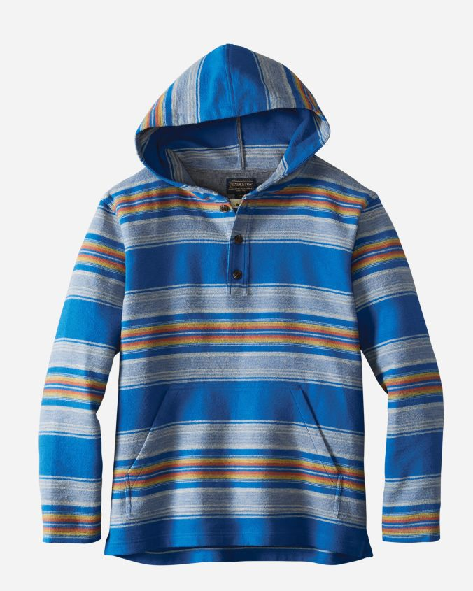 A men's popover shirt in a blue serape stripe.