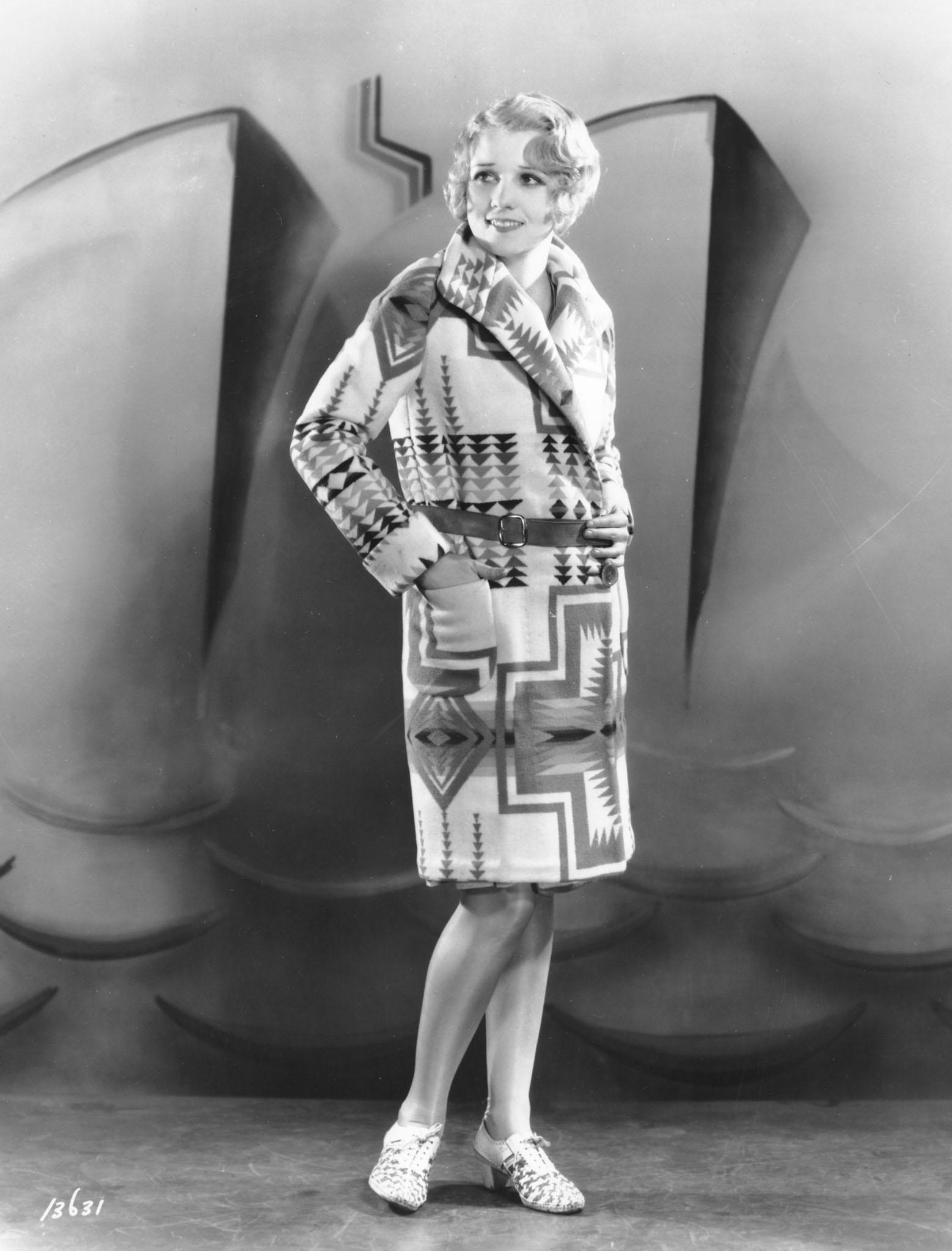 Actress Anita Page in a Pendleton blanket coat circa 1920s