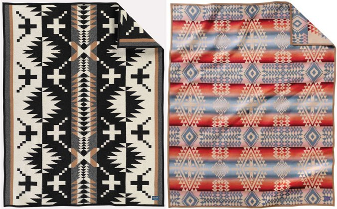 A side-by-side photo of the Pendleton Spider Rock throw to the left, and the Pendleton Canyonlands blanket to the right.