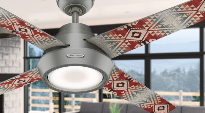A closeup of the silver Pendleton x Hunter fan that shows the Canyonlands pattern on the fan blades.