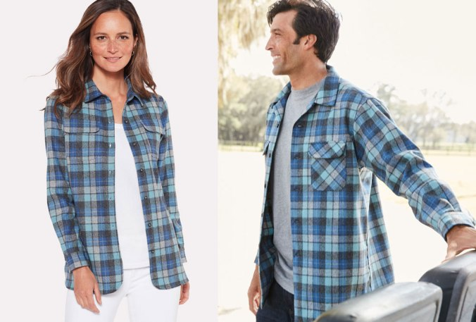 A woman and a man wear Pendleton Board Shirts in Original Surf Plaid.