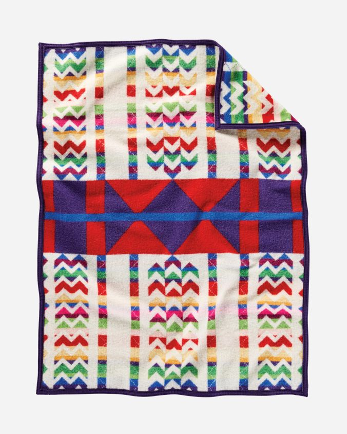 Reverse view of the Morning Cradleboard Pendleton crib blanket.