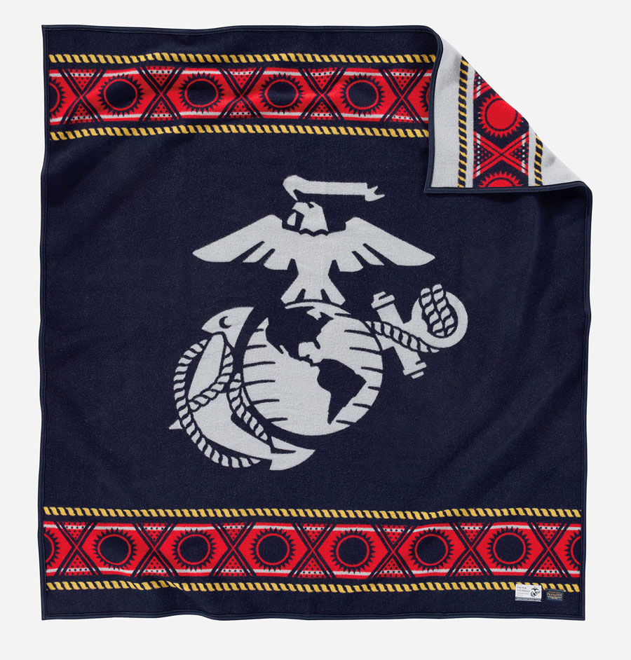 Pendleton Marines blanket featuring the logo of the USMC, red white and blue