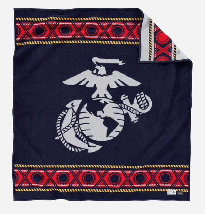 Pendleton Marines blanket feaaturing the logo of the USMC, red white and blue