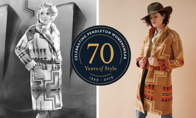 two women wearing Pendleton blanket coats - to left, actress Anita Page, to right, brunette model wearing hat, jeans, Pendleton blanket coat