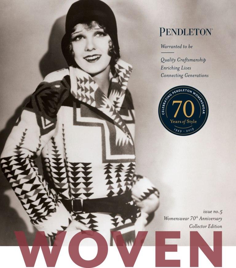 cover of Pendleton magazine with actress Anita page in a Pendleton blanket coat circa 1930