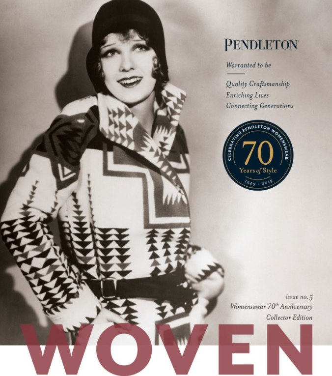 cover of Pendleton magazine with actress Anita page in a Pendleton blanket coat circa 1930