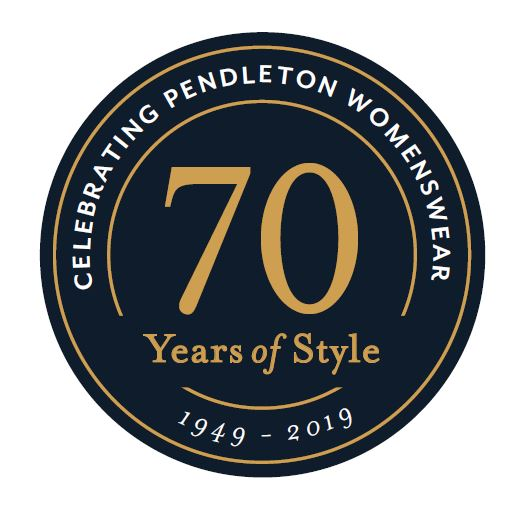 "round seal that marks celebration of pendleton womenswear's 70th anniversay, includes ""celebrating pendleton womenswear 70 years of style - 1949 - 2019"