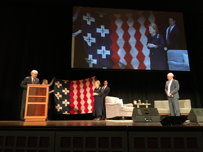 Madeline Albright onstage at Portland's Arlene Schnitzer Center for the Performing arts, receiving a Pendleton Brave Star blanket