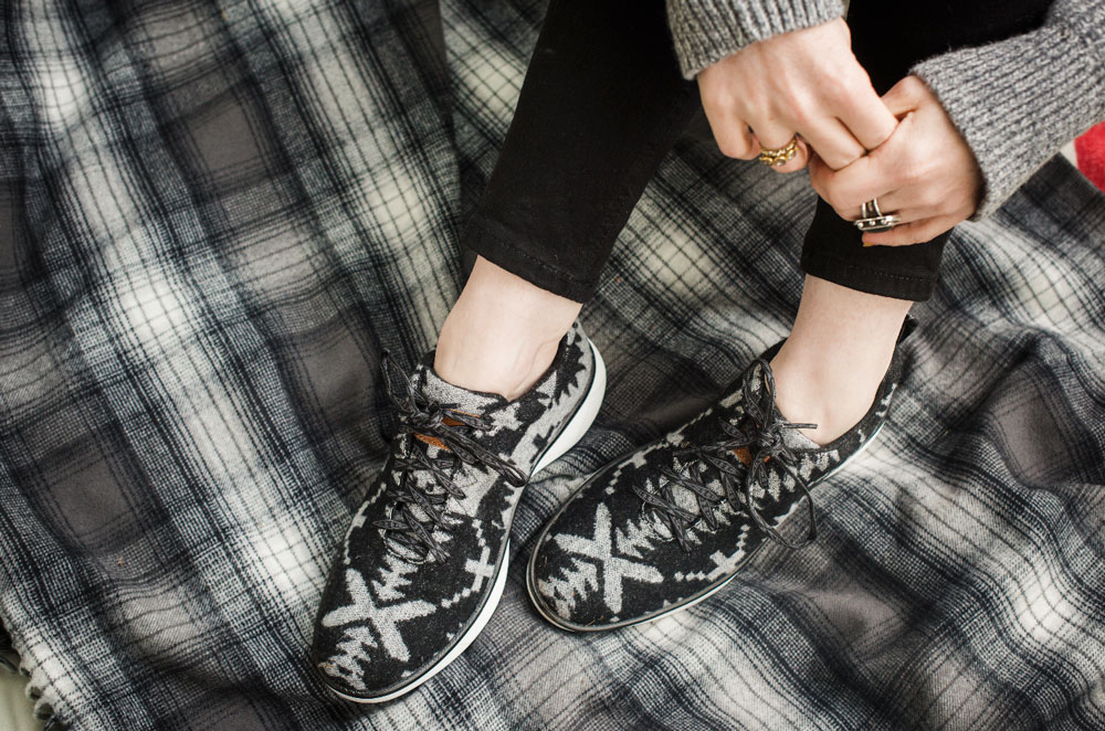 Women's Pendleton shoes in black, white and grey wool, on a grey plaid blanket.