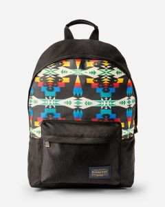 Pendleton Canopy Canvas backpack in Tucson pattern, black background with bright blue, red, yellow, white print.