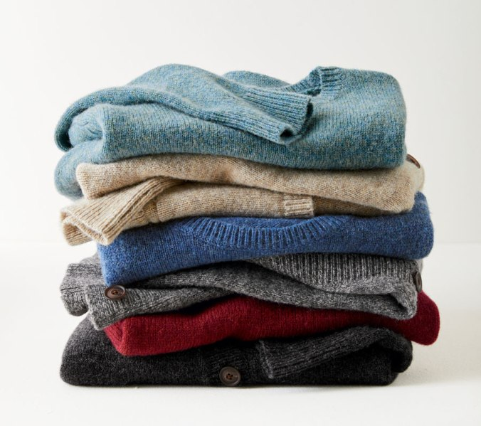 Folded stack of Shetland wool sweaters by Pendleton