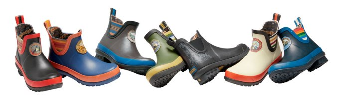 Seven waterproof rain boots with Pendleton national park designs.