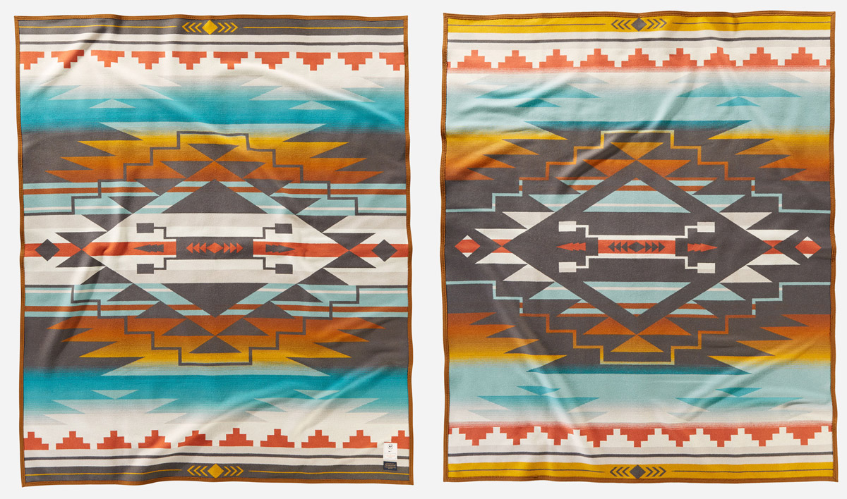 Front and back views of the new N7/College Fund blanket by Pendleton