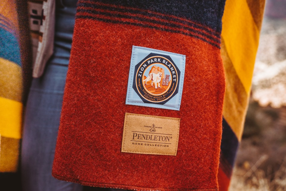 The label of the Zion National Park blanket by Pendleton.