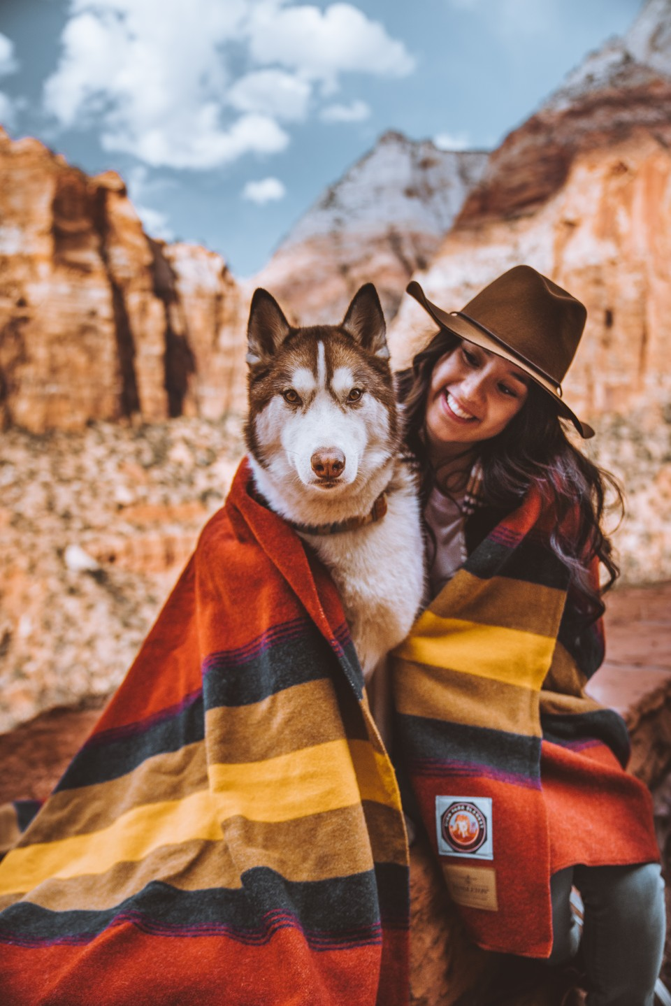 A husky dog stares at the camera in Zion National Park.