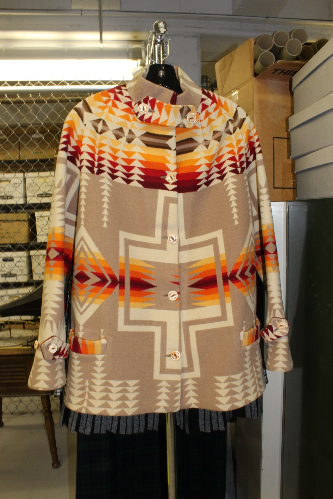 """The Pendleton """"airplane"""" coat, a blanket coat in the Harding pattern in the Pendleton archives."""