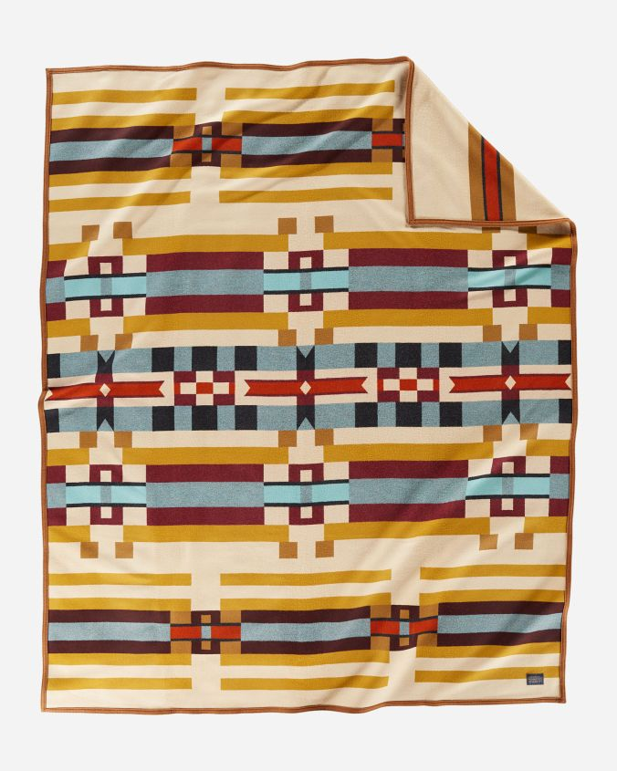 Saddle Mountain blanket by Pendleton - gold, purple, blue and