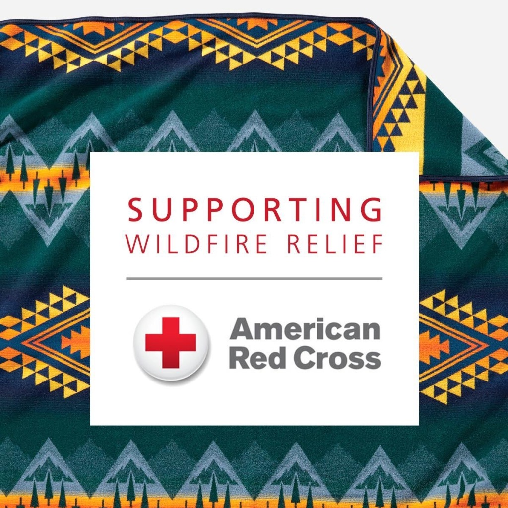 "A Pendleton blanket behind the logo for the American Red Cross, ""Supporting Wildfire Relief"""