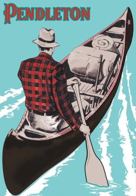 Pendleton Poster of a man paddling in a canoe