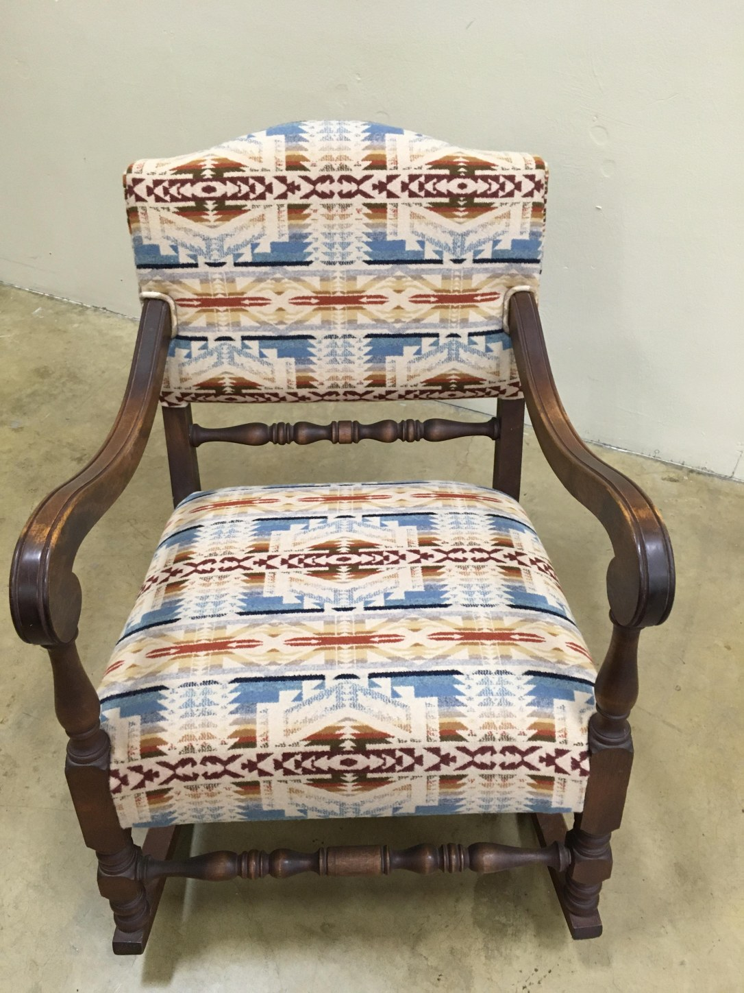 Heirloom rocker with new upholstery