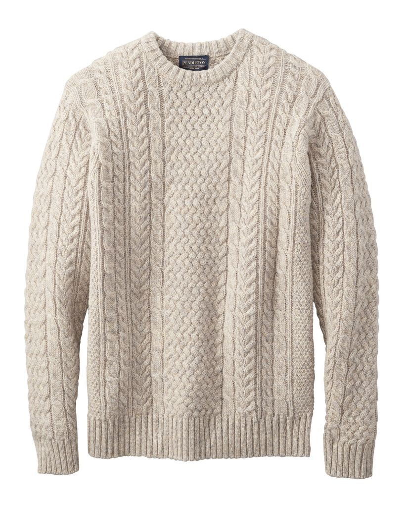 A wool fisherman's sweater with a cabled stitch design by Pendleton.