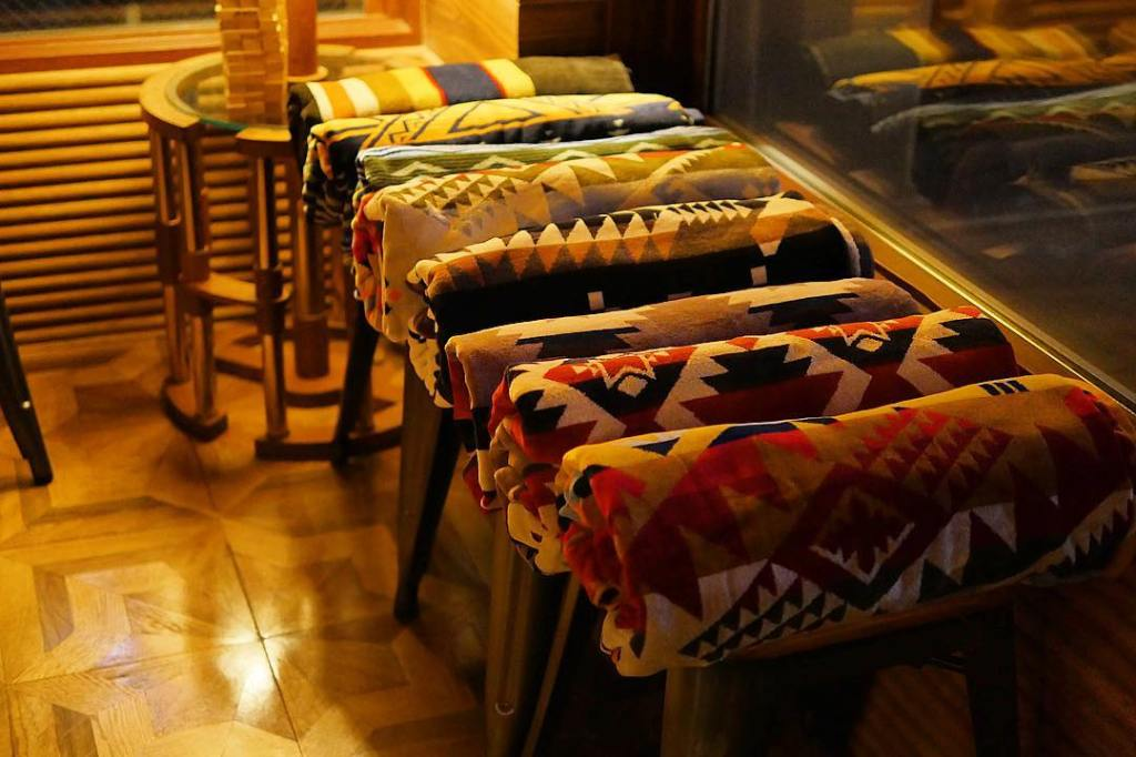 At the Hotel Unwind spa, a row of beautiful Pendleton spa towels await pampered guests.