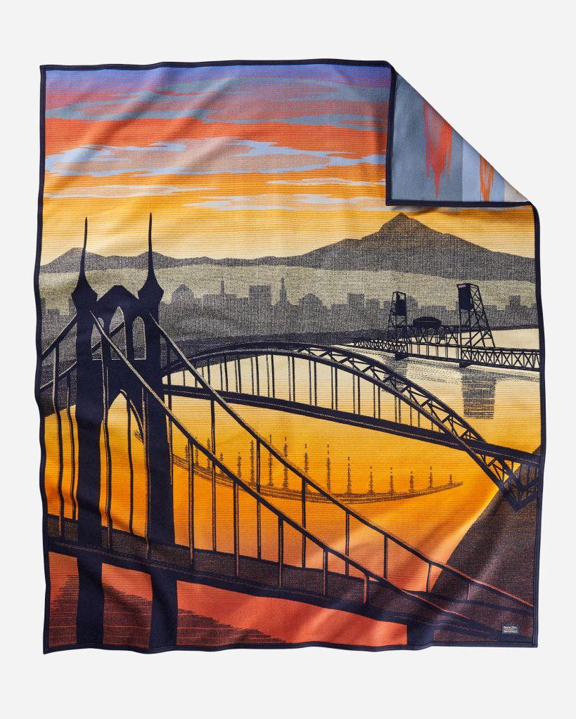 Bridge City, a new blanket by Pendleton, shows bridges spanning the Willamette River