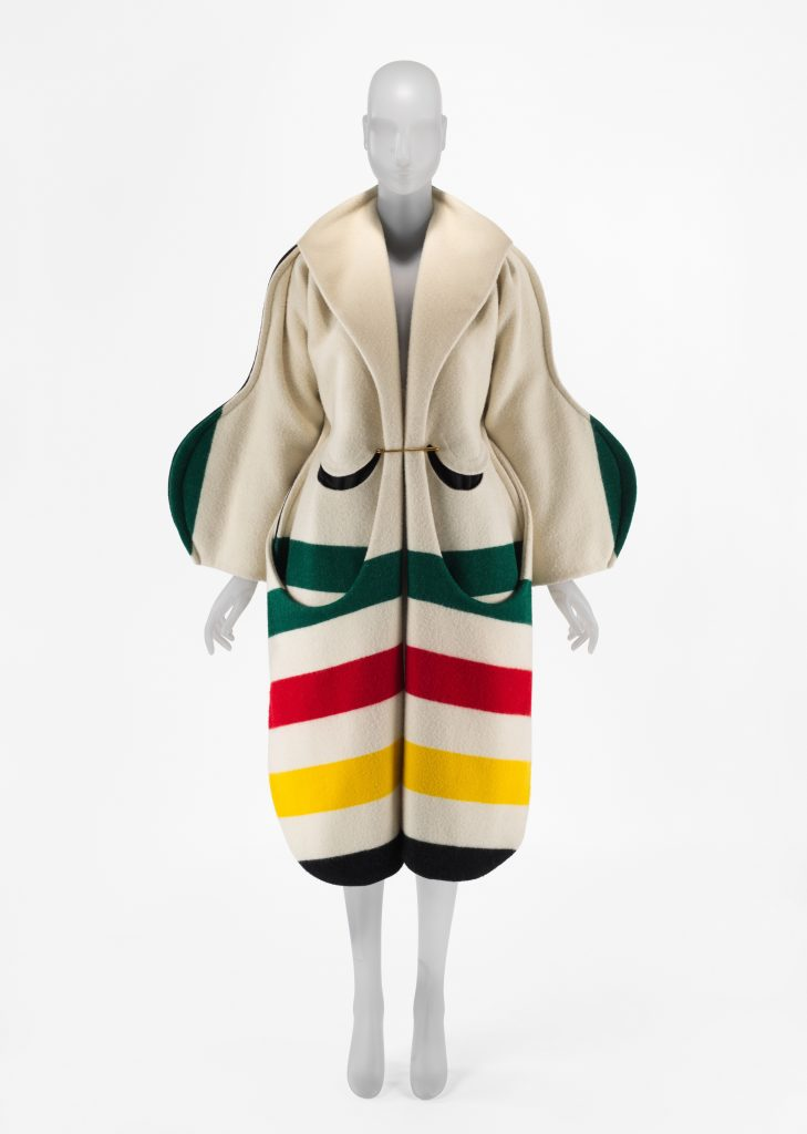 One of Andre Walker's designs, featured in the exhibit, using Pendleton's Glacier National Park stripe fabric. Photo courtesy Artnet.