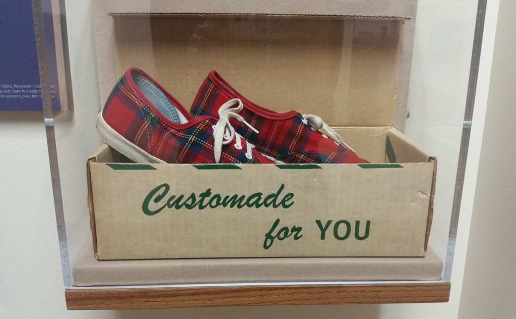 Vans x pendleton shoes from the 1970s in airtight display box, Pendleton Heritage hallway display