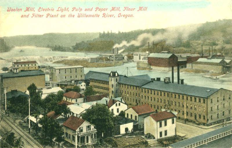 Oregon City Woolen Mill, vintage postcard