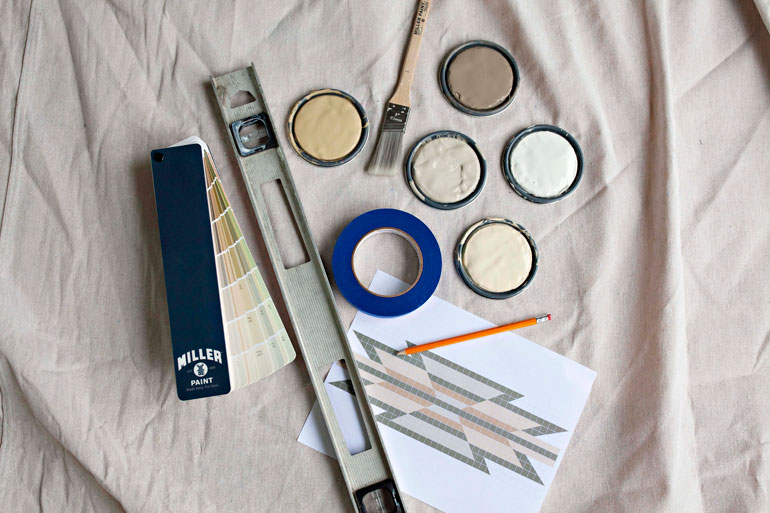 Miller Paint supplies, along with a swatch set, level, stencil, paintbrush, and painter tape. Photo by Oregon Home and Miller Paint, used with permission.